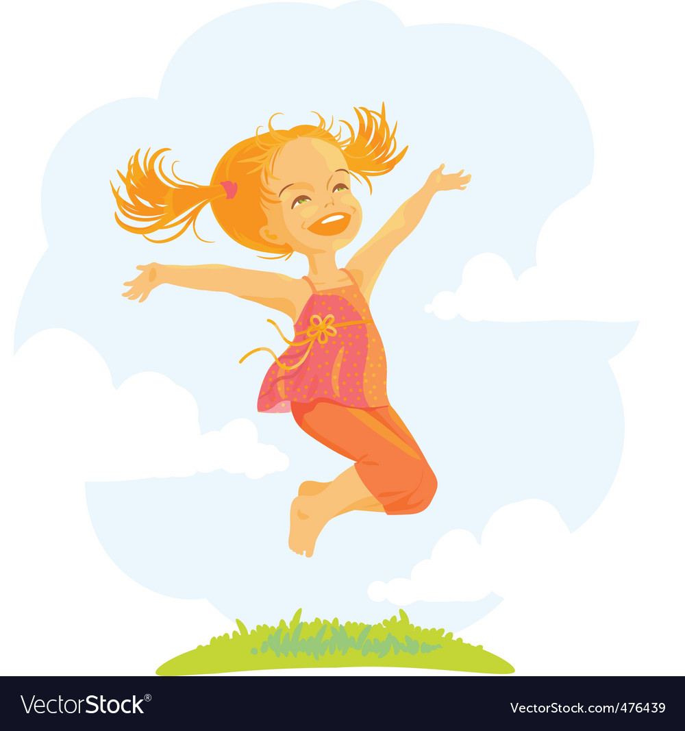 Cartoon jumping girl vector | Price: 3 Credit (USD $3)