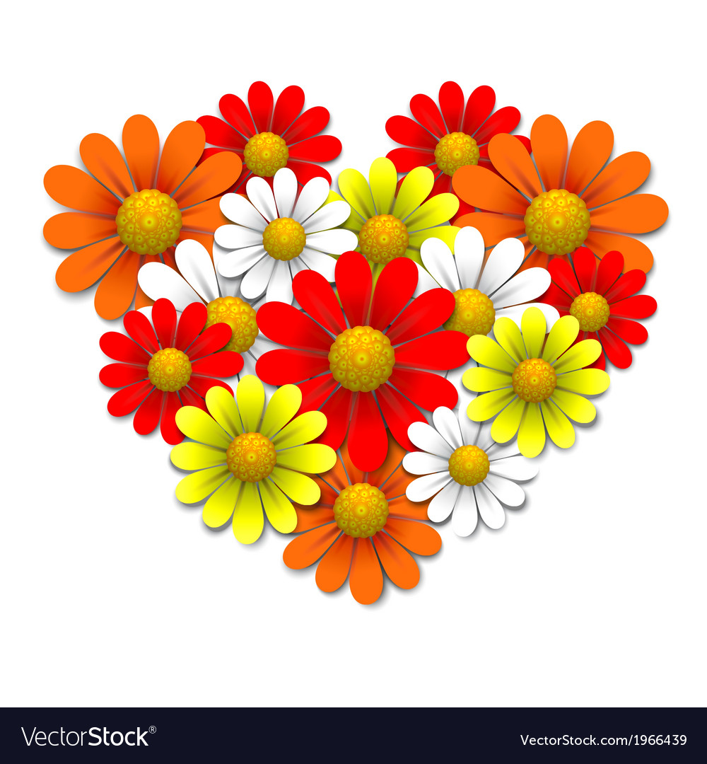 Flowers in the shape of heart vector | Price: 1 Credit (USD $1)