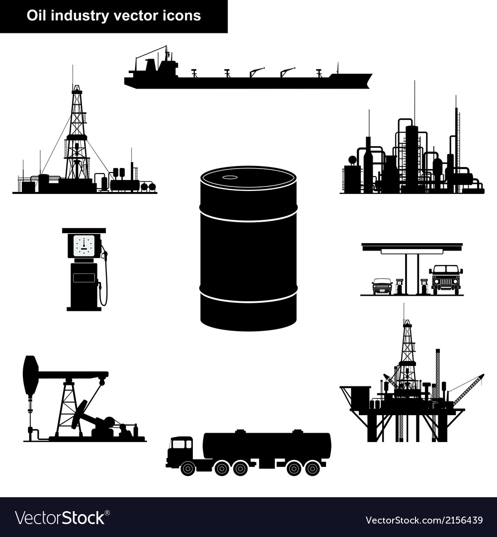 Oil and gas industry black icons vector | Price: 1 Credit (USD $1)