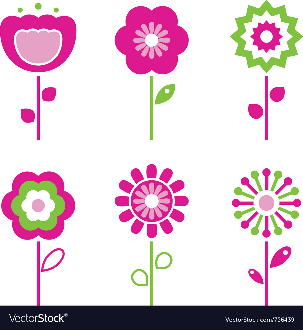 Retro flower elements vector | Price: 1 Credit (USD $1)