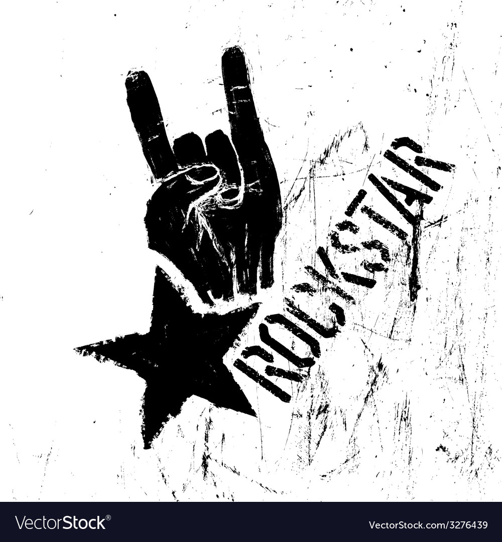 Rockstar symbol with rock on gesture vector
