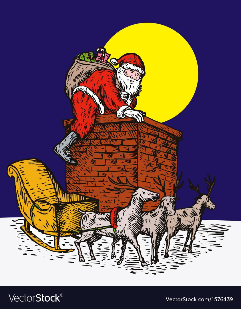 Santa claus over chimney vector | Price: 1 Credit (USD $1)
