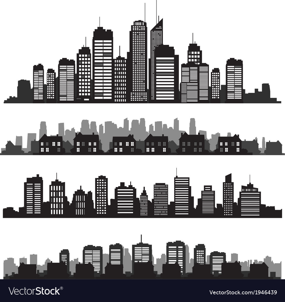 Set of cities silhouette and buildings vector | Price: 1 Credit (USD $1)