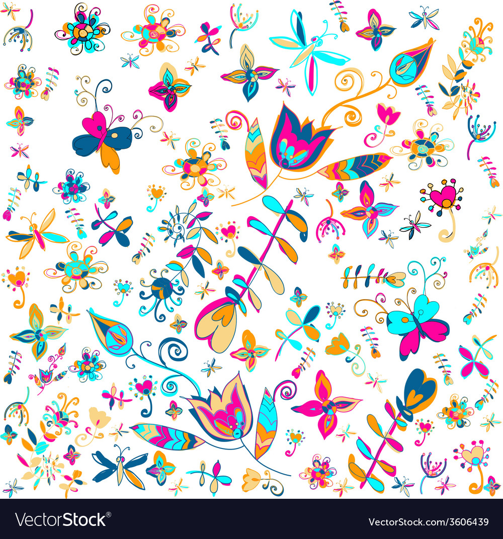 Summer floral background vector   Price: 1 Credit (USD $1)