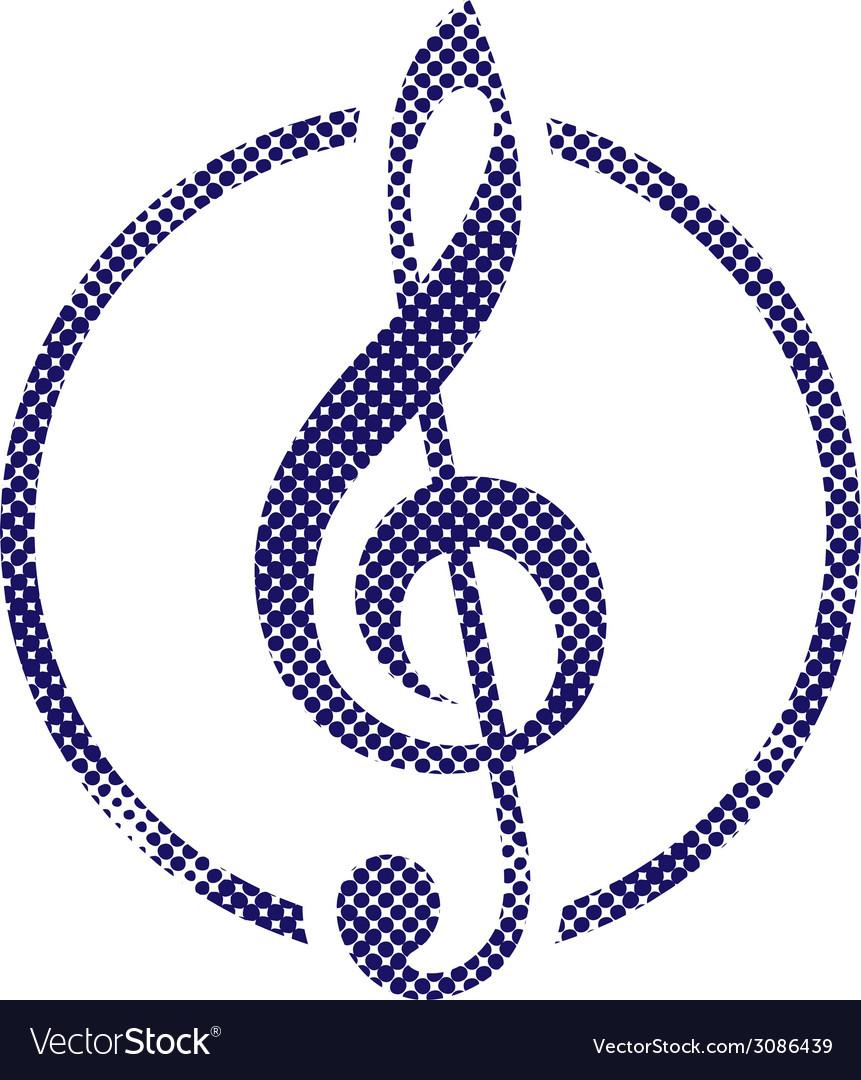 Treble clef icon with halftone dots print texture vector | Price: 1 Credit (USD $1)