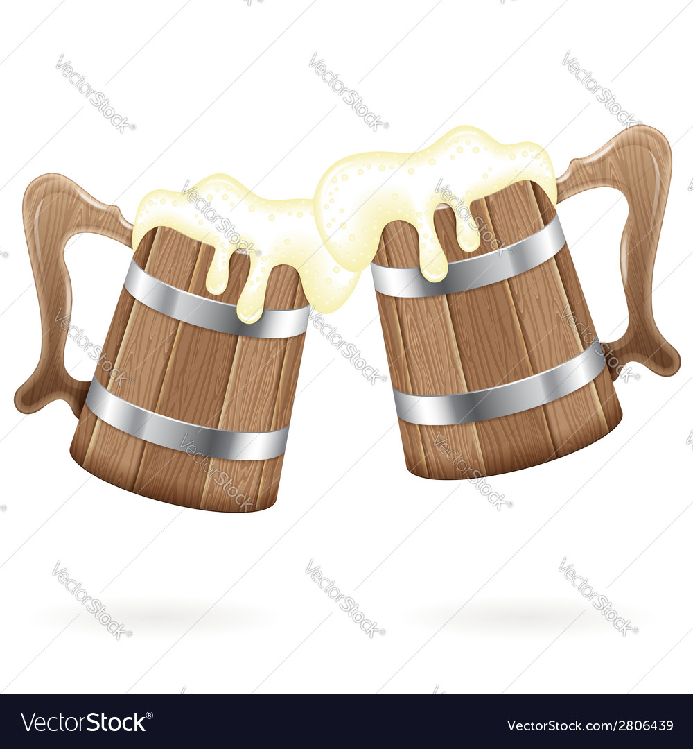 Two wooden mugs with beer vector | Price: 1 Credit (USD $1)