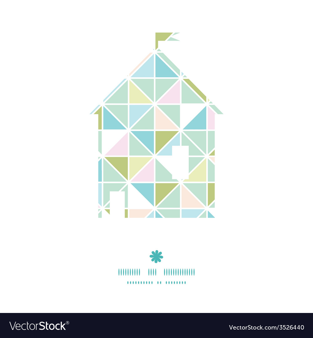 Colorful pastel triangle texture house silhouette vector | Price: 1 Credit (USD $1)