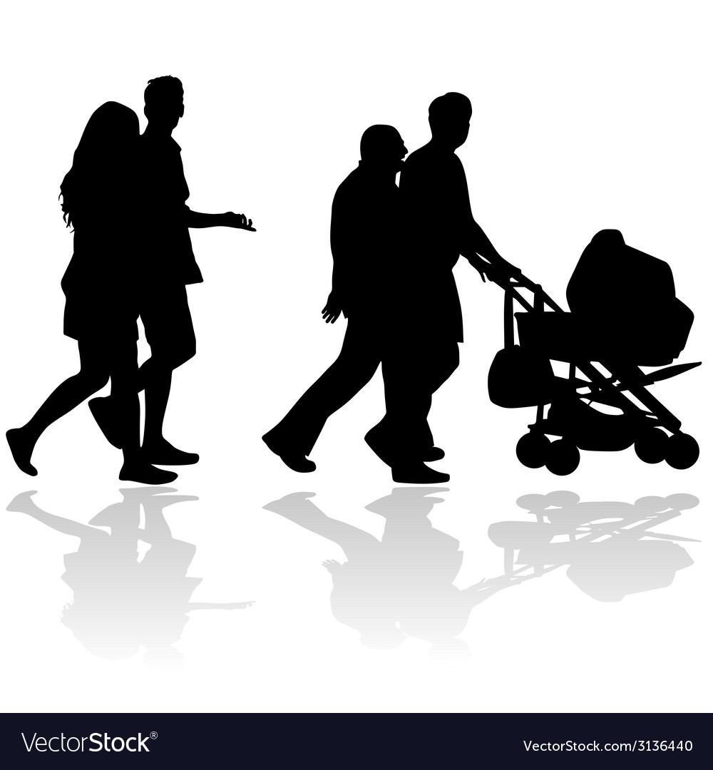 Couple people with baby stroller silhouette vector | Price: 1 Credit (USD $1)