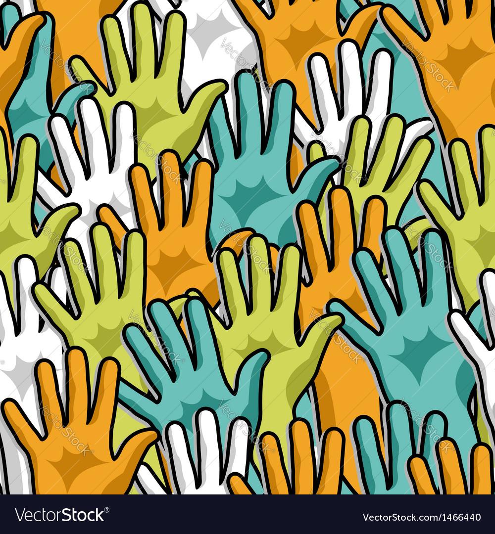 Democracy hands up pattern vector | Price: 1 Credit (USD $1)
