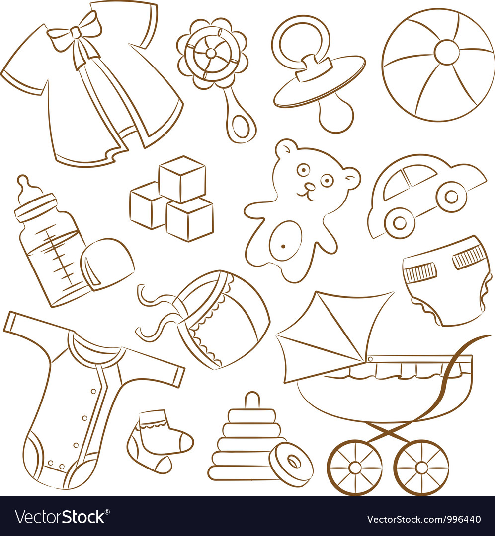 Doodle baby icon set vector | Price: 1 Credit (USD $1)