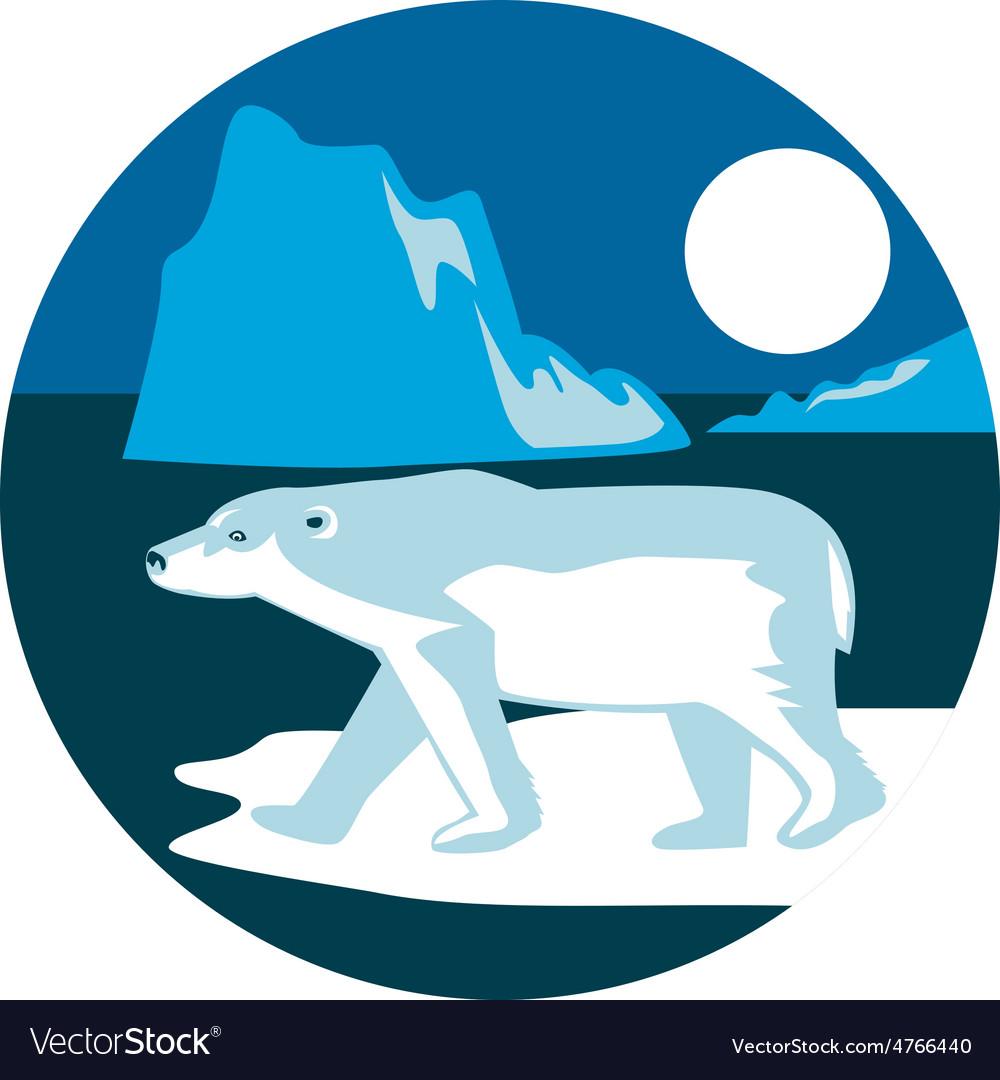 Polar bear iceberg circle retro vector | Price: 1 Credit (USD $1)