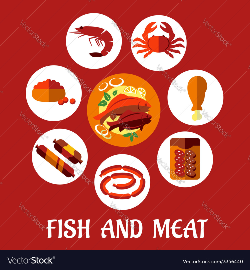 Seafood and mat flat icons vector | Price: 1 Credit (USD $1)