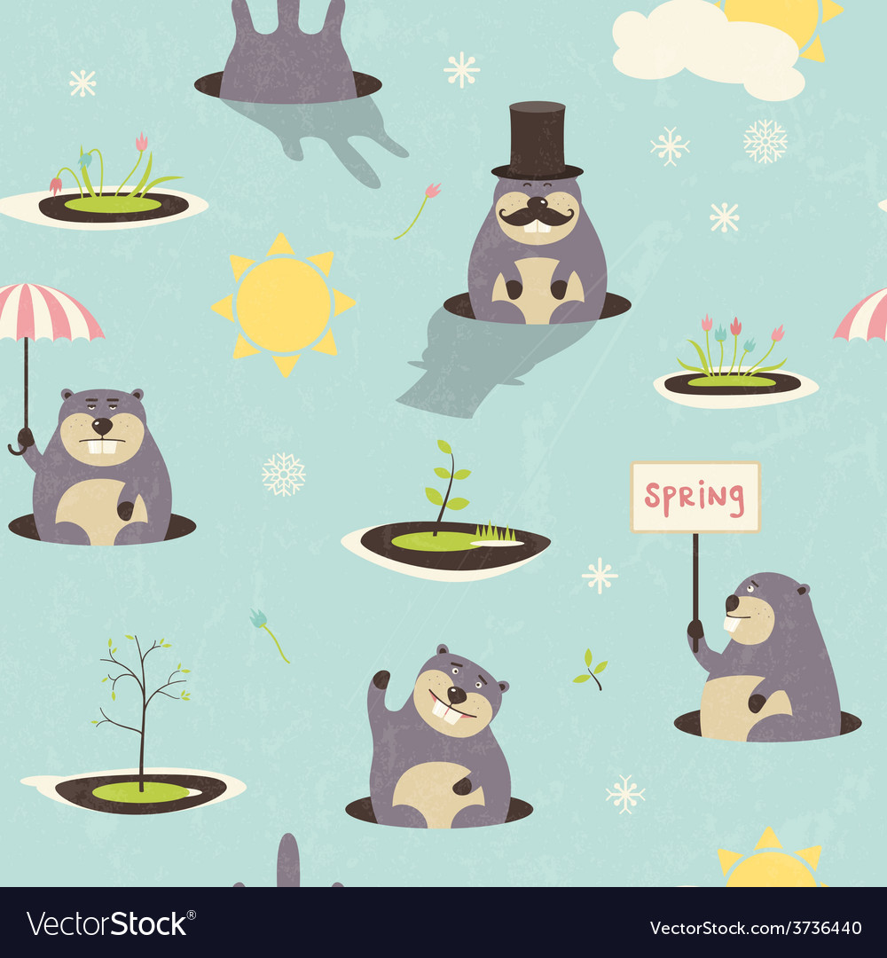 Seamless pattern for grounghog day vector