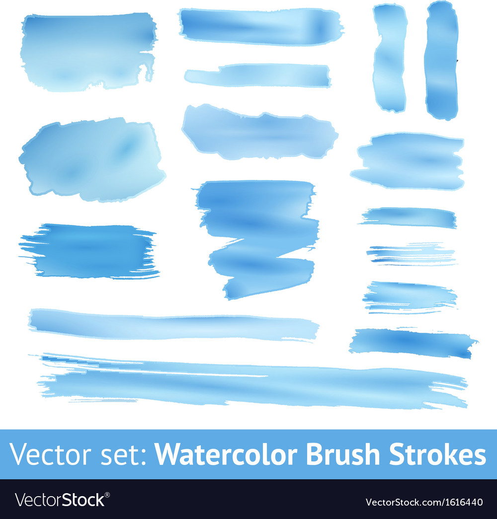 Set of blue watercolor brush stroke vector | Price: 1 Credit (USD $1)