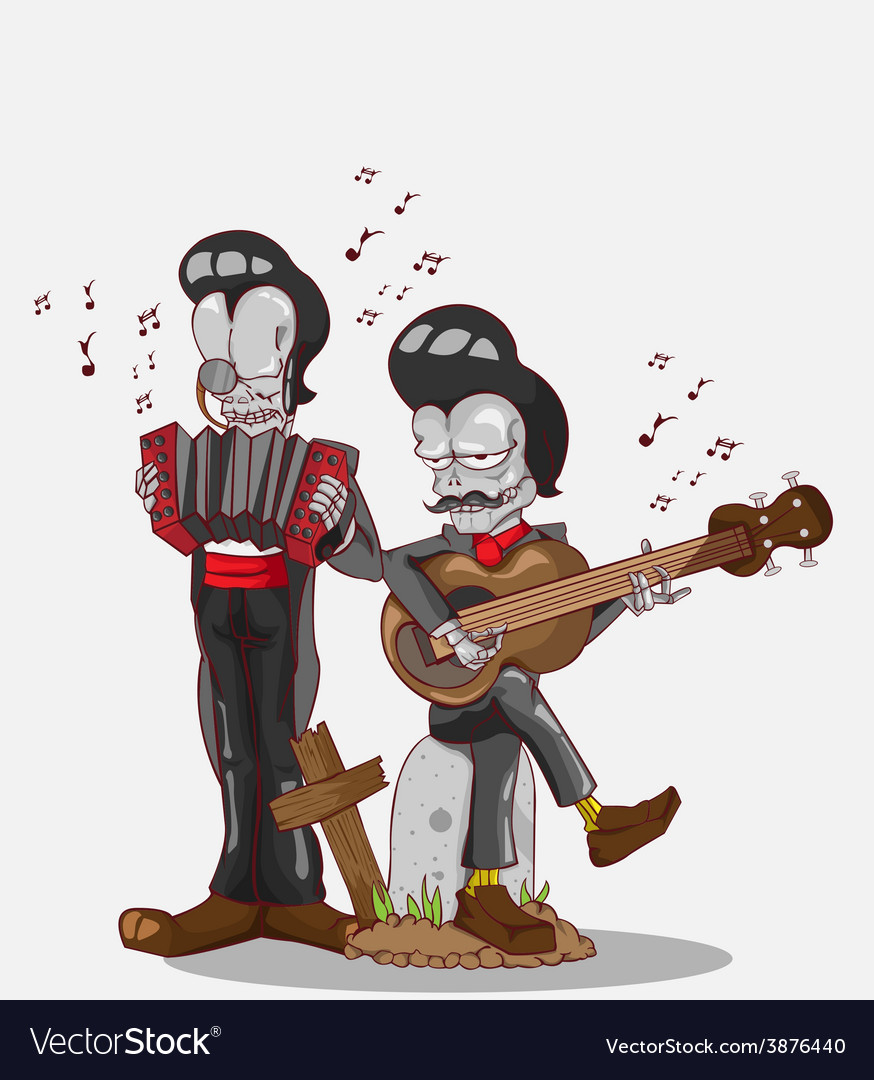 Two skeletons play accordion and guitar vector | Price: 3 Credit (USD $3)