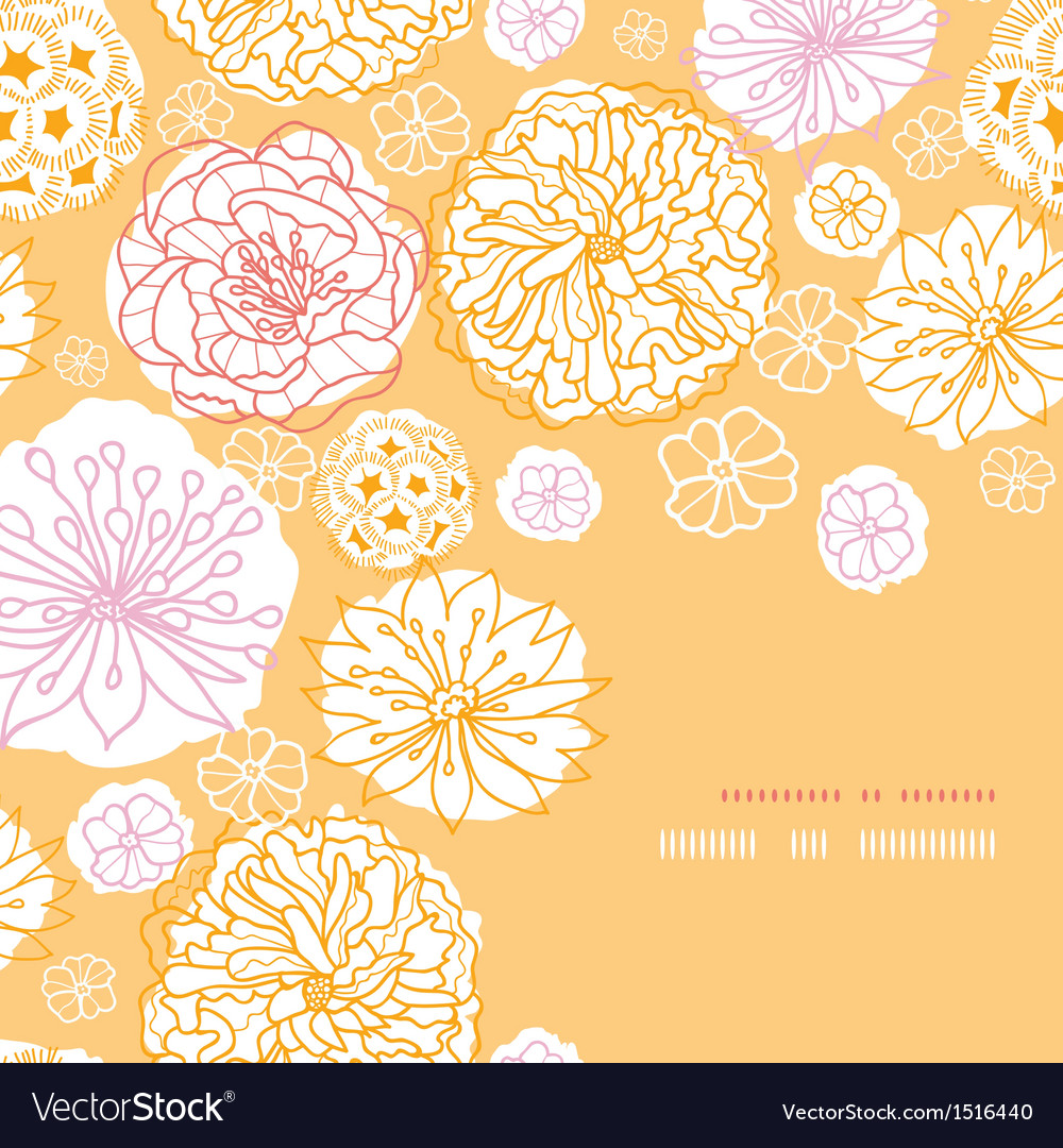 Warm day flowers corner frame pattern background vector | Price: 1 Credit (USD $1)