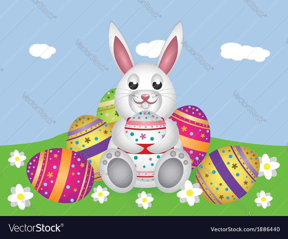 White bunny with easter eggs2 vector | Price: 1 Credit (USD $1)
