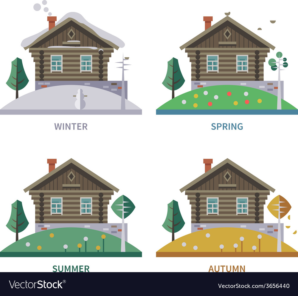 Wodden house vector