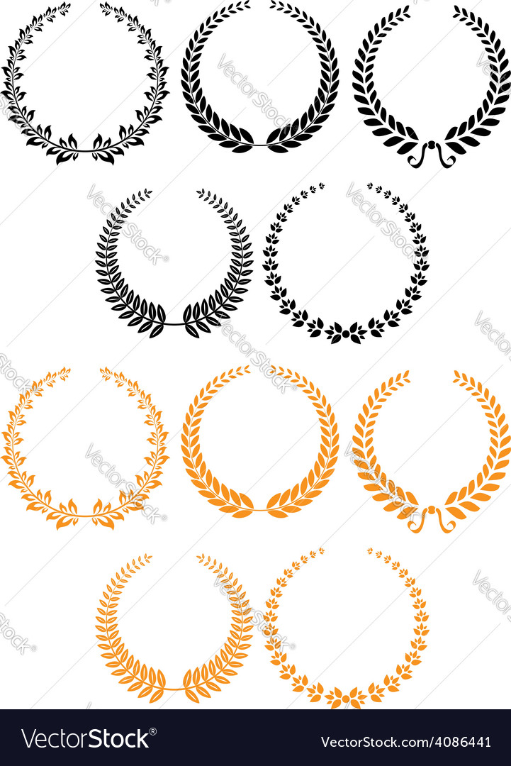 Black and orange heraldic laurel wreaths vector | Price: 1 Credit (USD $1)