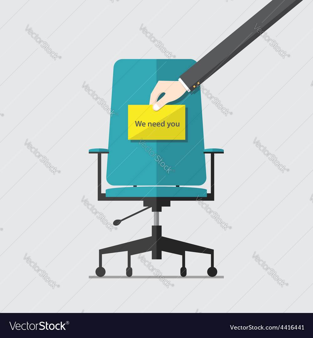 Business chair with we need you message vector | Price: 1 Credit (USD $1)
