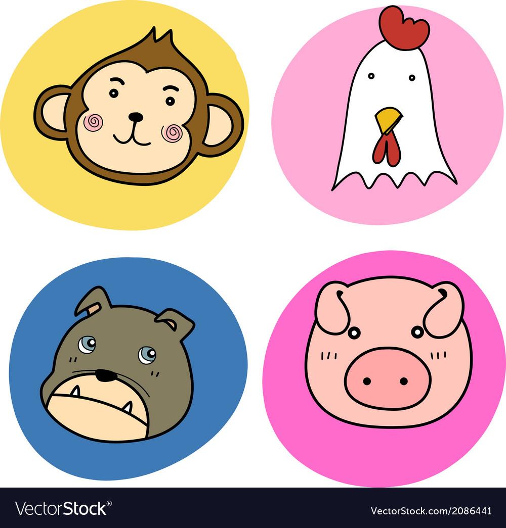 Chinese horoscope animal set vector   Price: 1 Credit (USD $1)