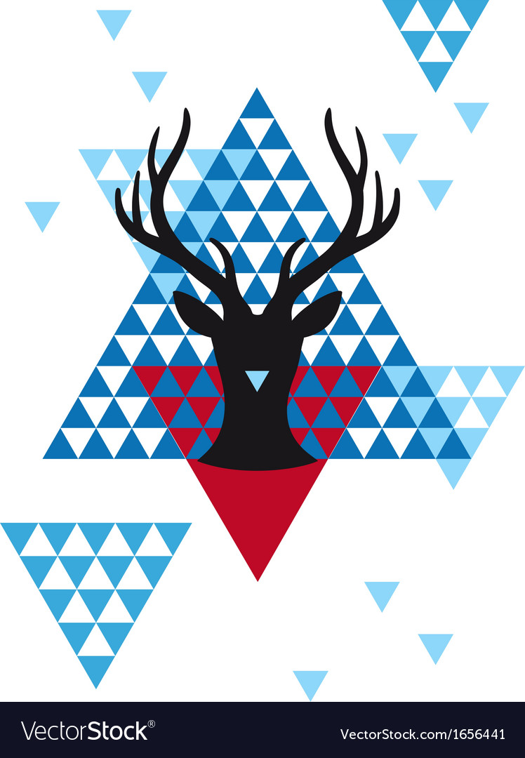 Christmas deer with geometric pattern vector | Price: 1 Credit (USD $1)