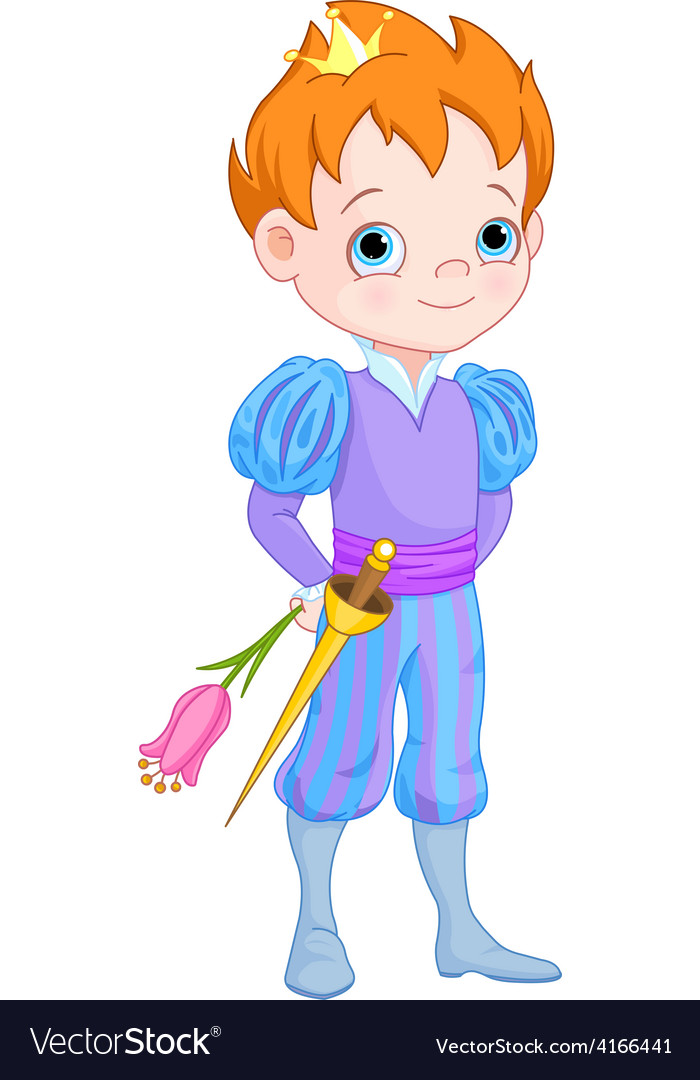 Cute little prince holds flower vector | Price: 3 Credit (USD $3)