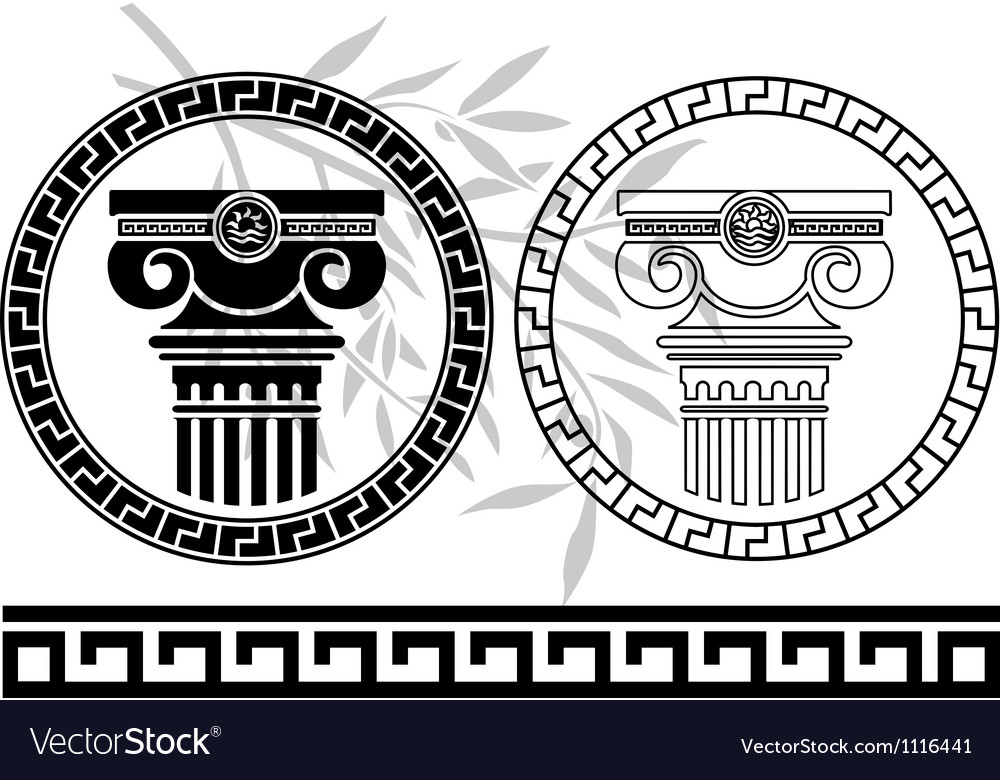 Hellenic columns and olive branch second variant vector | Price: 1 Credit (USD $1)