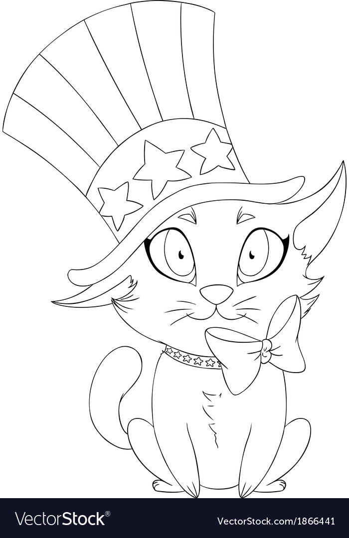 Independence day kitten coloring page vector | Price: 1 Credit (USD $1)