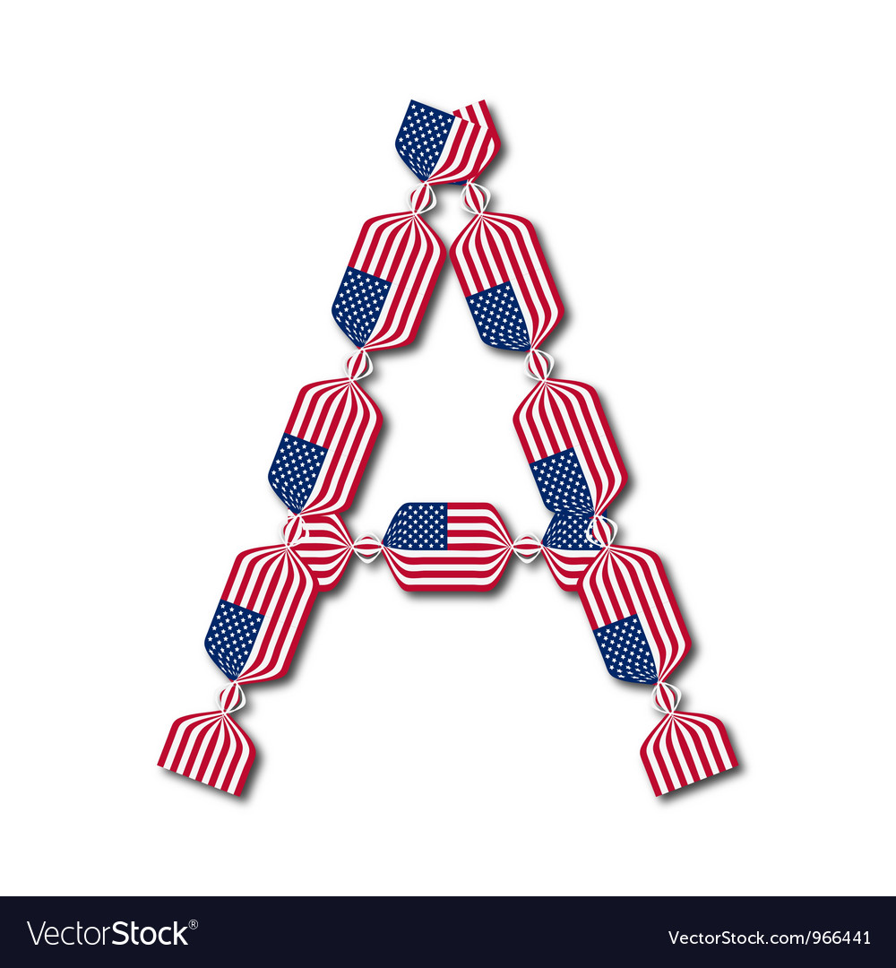 Letter a made of usa flags in form of candies vector | Price: 1 Credit (USD $1)