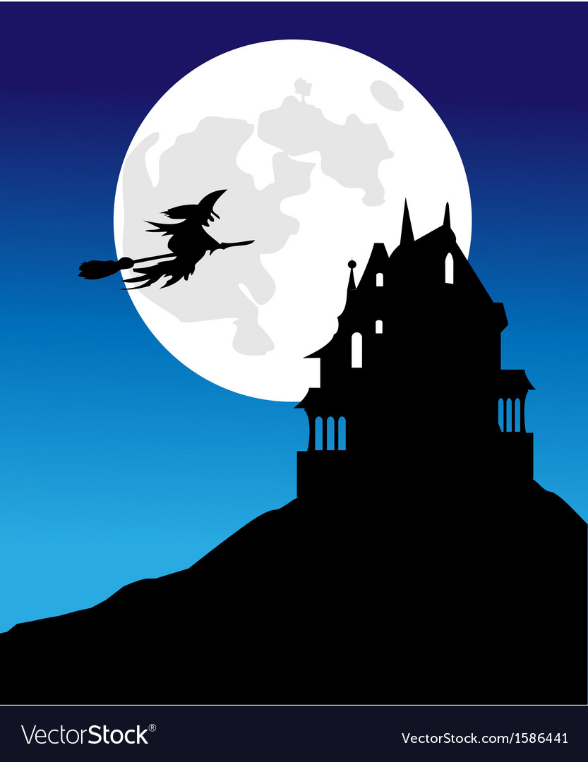The pervasive witch moon and spooky house vector | Price: 1 Credit (USD $1)