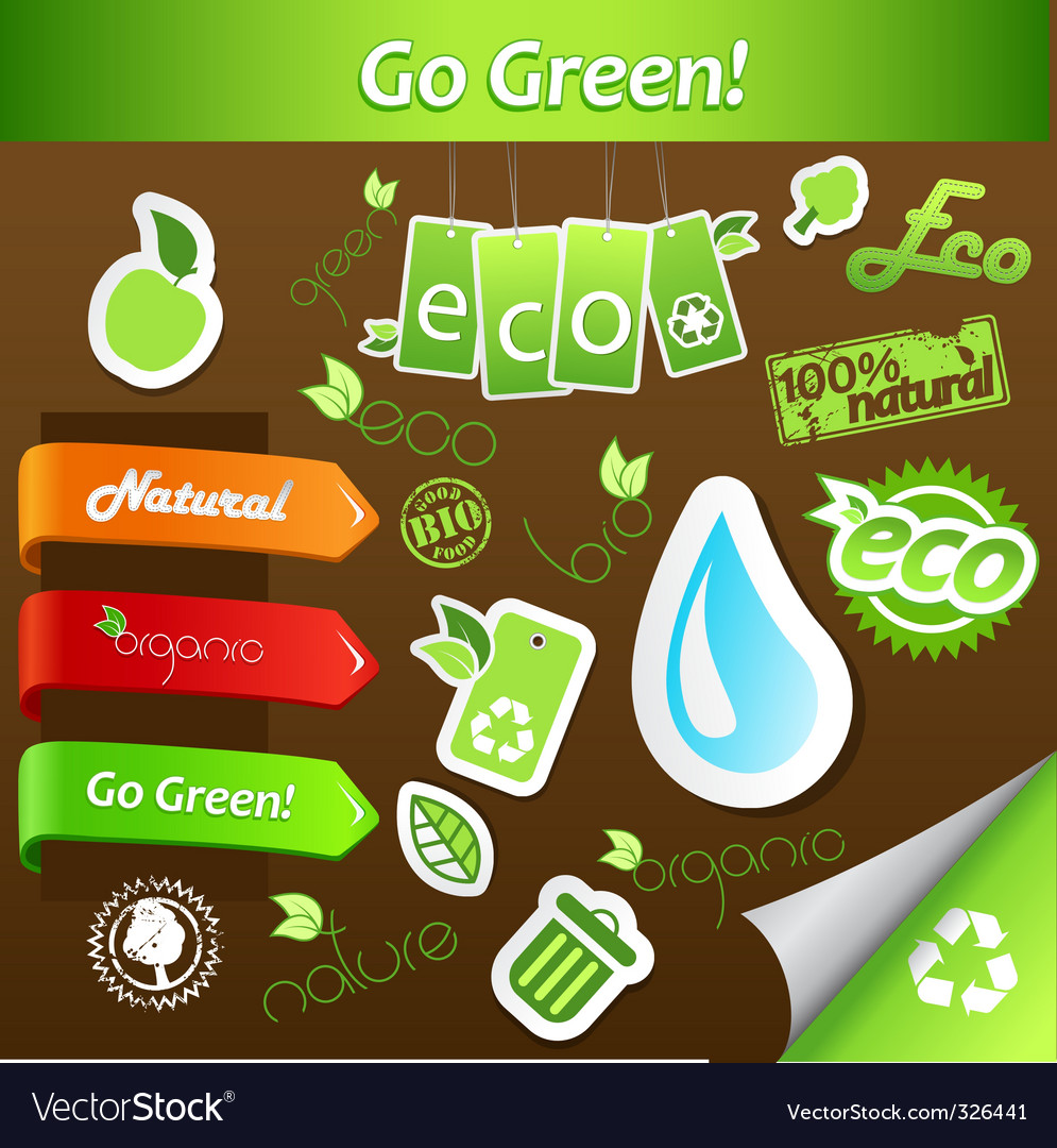 Set of green ecology icons vector | Price: 1 Credit (USD $1)