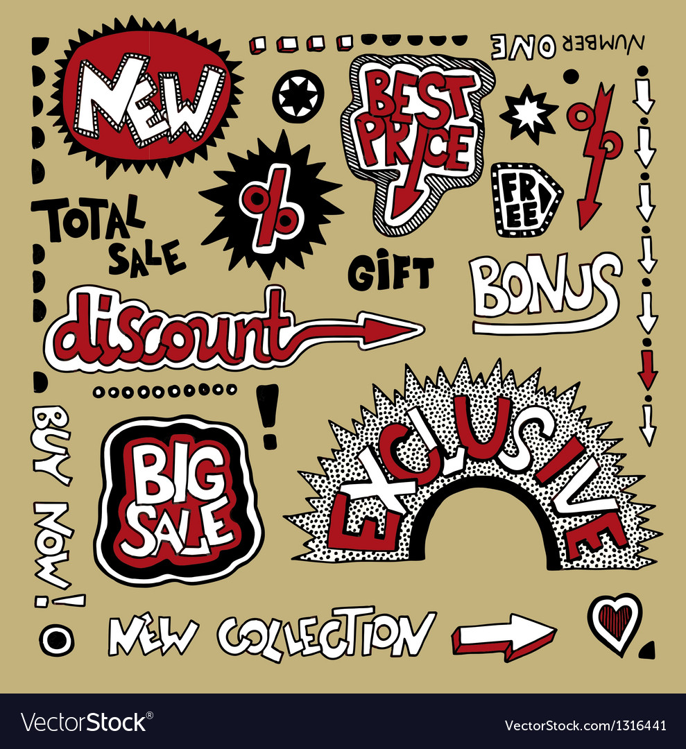 Set of hand draw discount sale stickers and tags vector   Price: 1 Credit (USD $1)