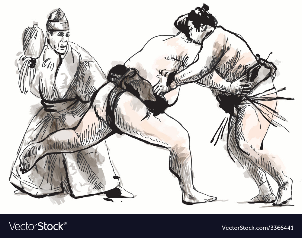 Sumo hand drawn in calligraphic style converted vector | Price: 1 Credit (USD $1)