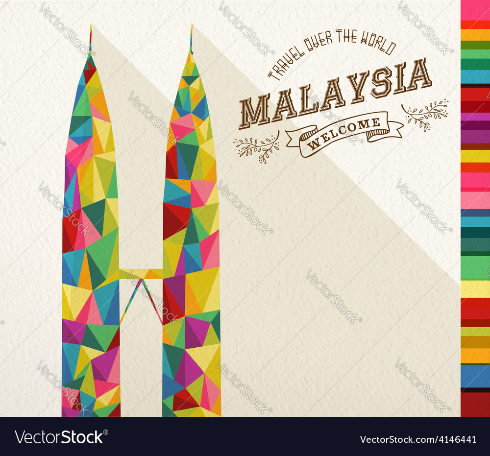 Travel malaysia landmark polygonal monument vector | Price: 1 Credit (USD $1)