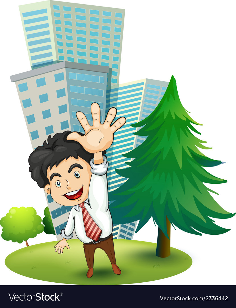 A happy businessman near the pine tree vector | Price: 3 Credit (USD $3)