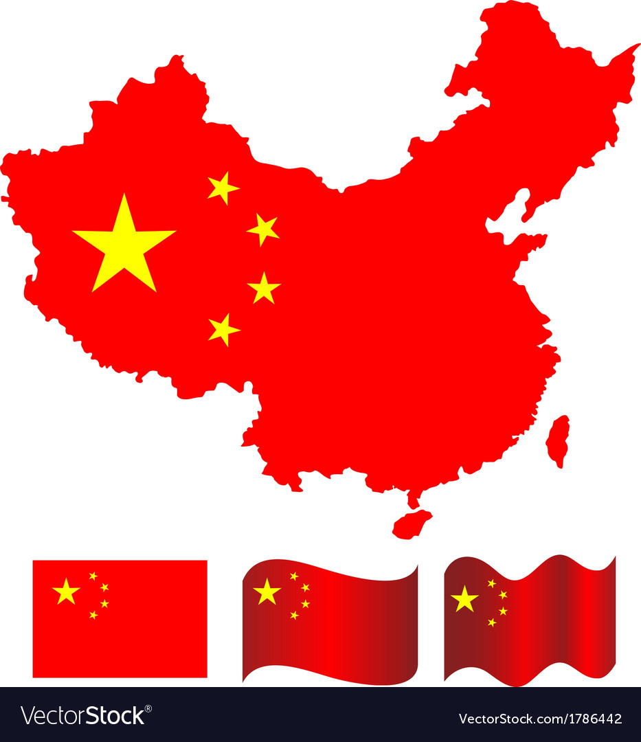 China map and flag of china vector | Price: 1 Credit (USD $1)