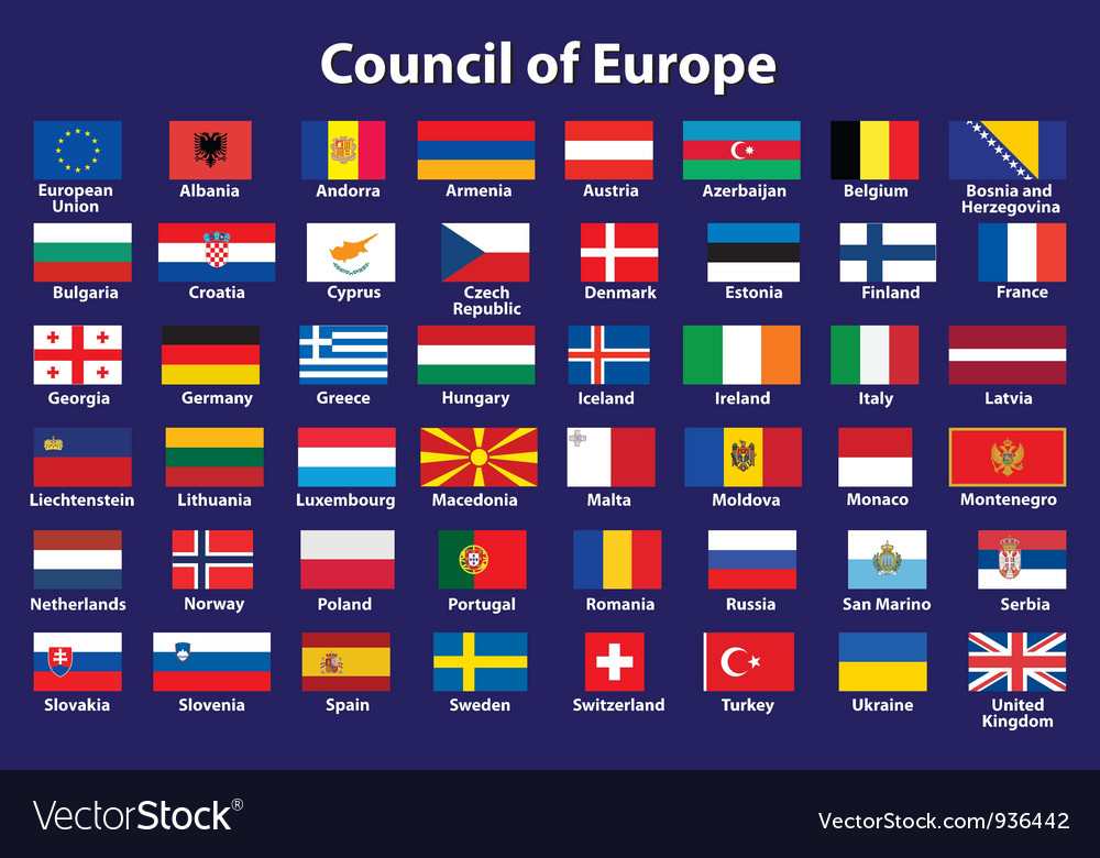 Council of europe flags vector | Price: 1 Credit (USD $1)
