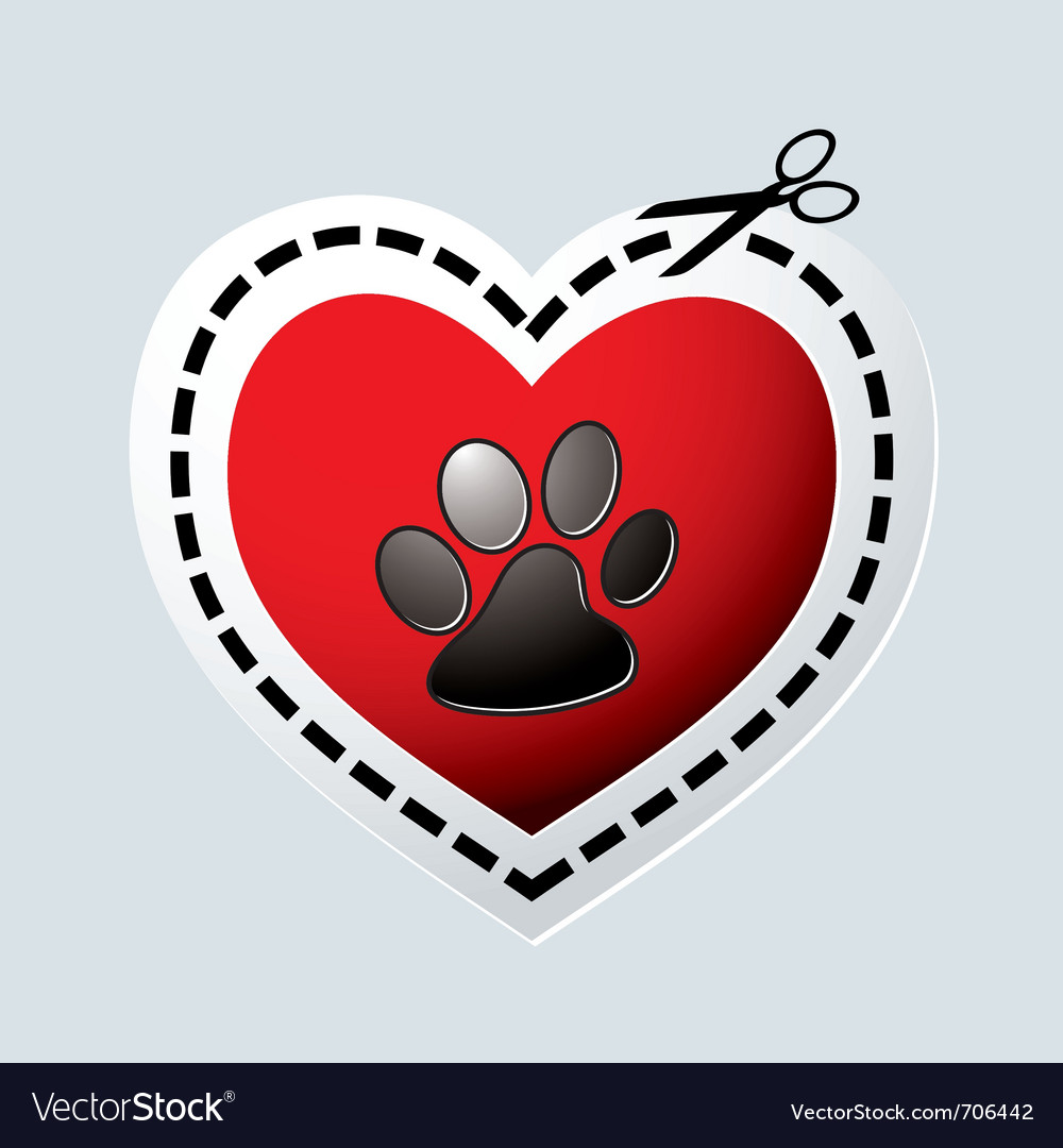 Red love heart with dogs paw vector | Price: 1 Credit (USD $1)