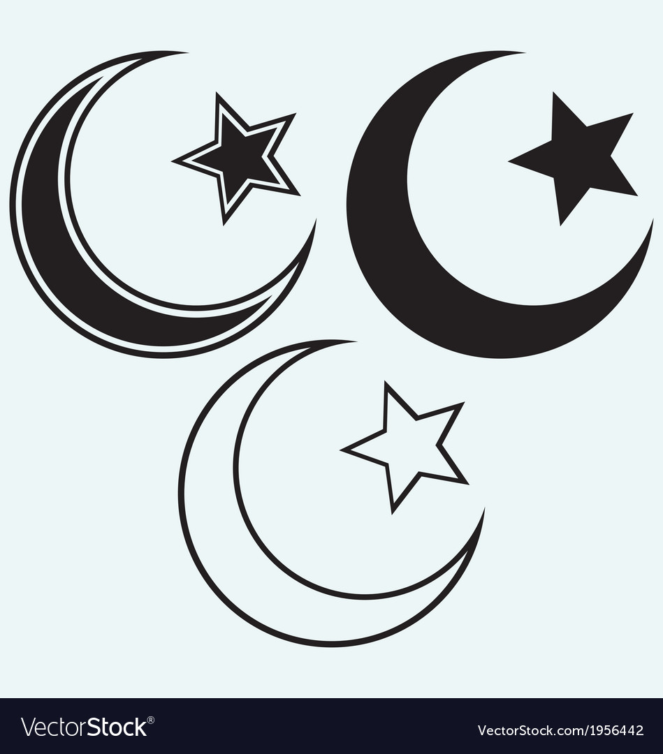Religious islamic star and crescent vector | Price: 1 Credit (USD $1)