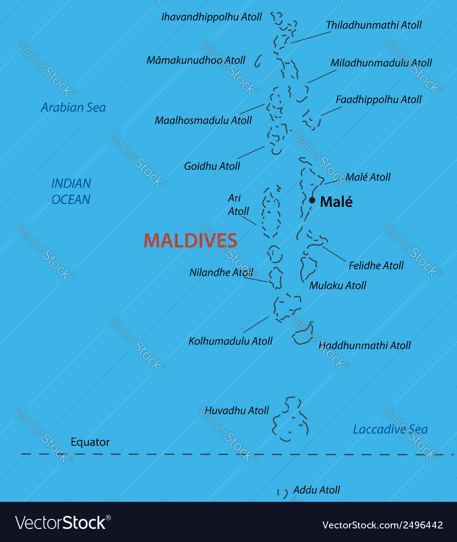 Republic of the maldives - map vector | Price: 1 Credit (USD $1)
