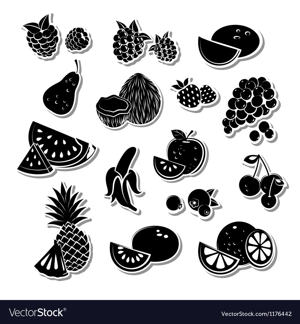 Retro fruit set vector | Price: 1 Credit (USD $1)
