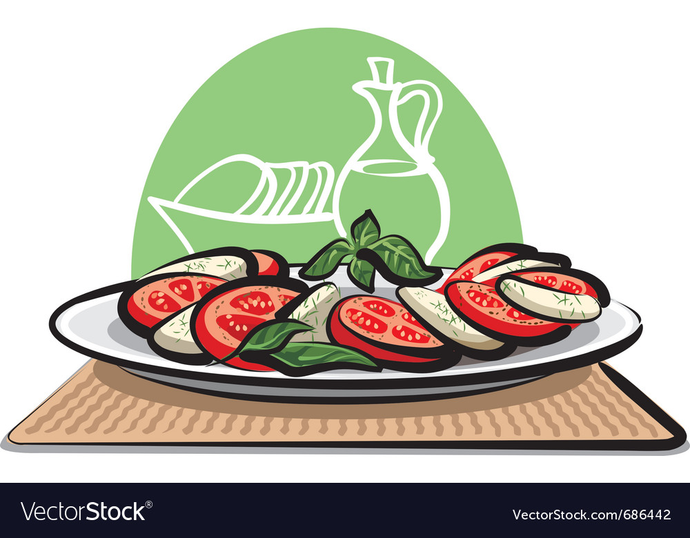Salad with tomatoes and mozzarella vector | Price: 3 Credit (USD $3)