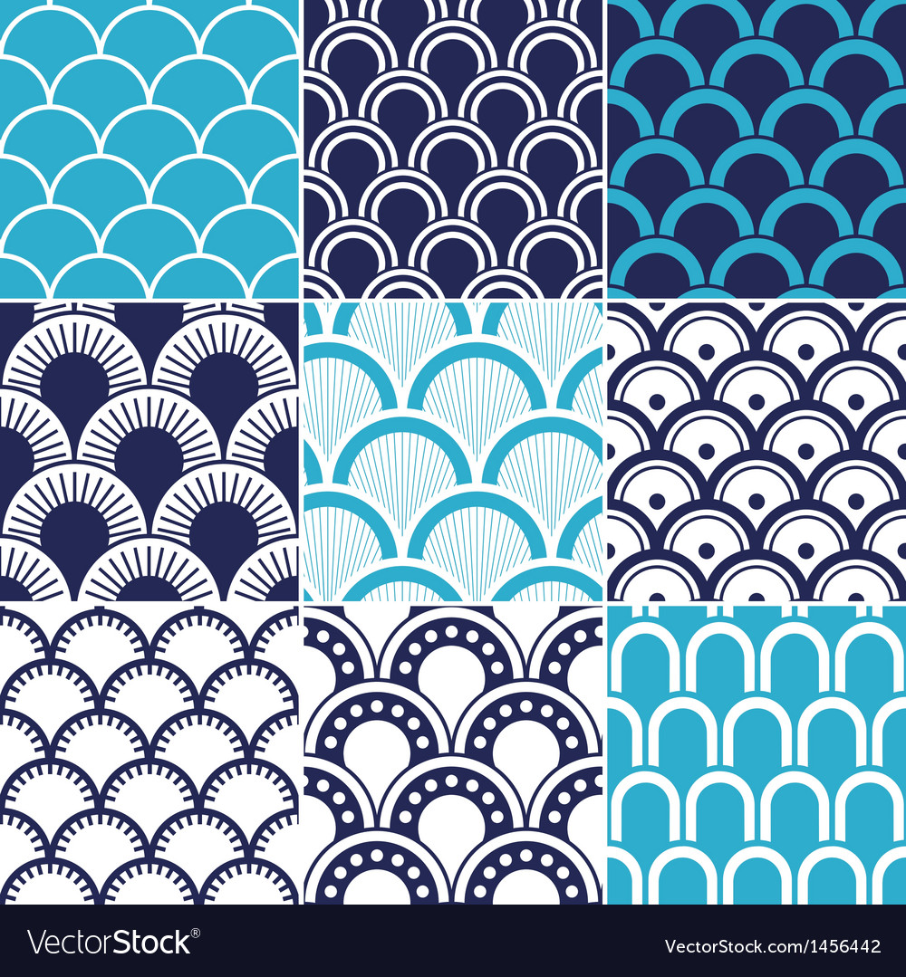 Seamless ocean wave pattern vector | Price: 1 Credit (USD $1)