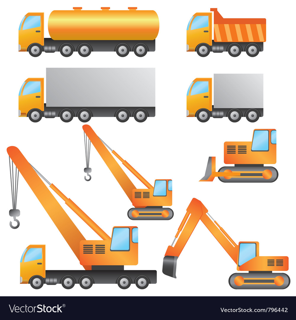 Set of construction machinery vector | Price: 1 Credit (USD $1)