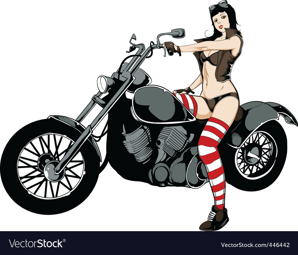 Sexy girl on motorcycle vector | Price: 5 Credit (USD $5)