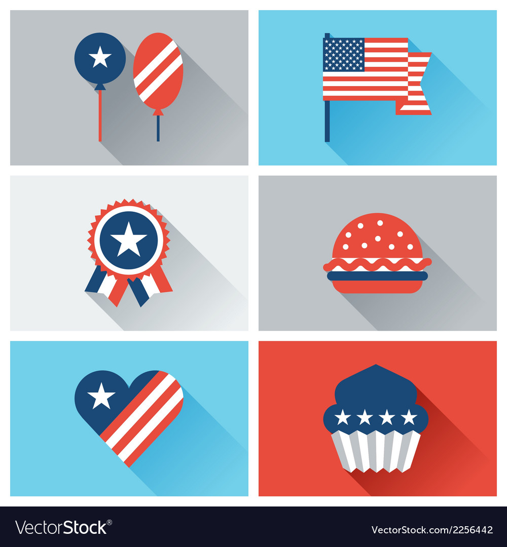 United states of america independence day icon set vector | Price: 1 Credit (USD $1)