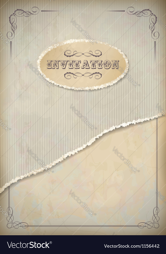 Vintage grunge invitation paper with frame vector | Price: 1 Credit (USD $1)