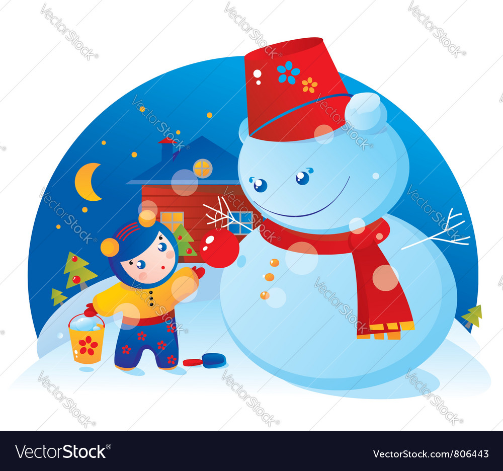 A little girl and snowman vector | Price: 3 Credit (USD $3)