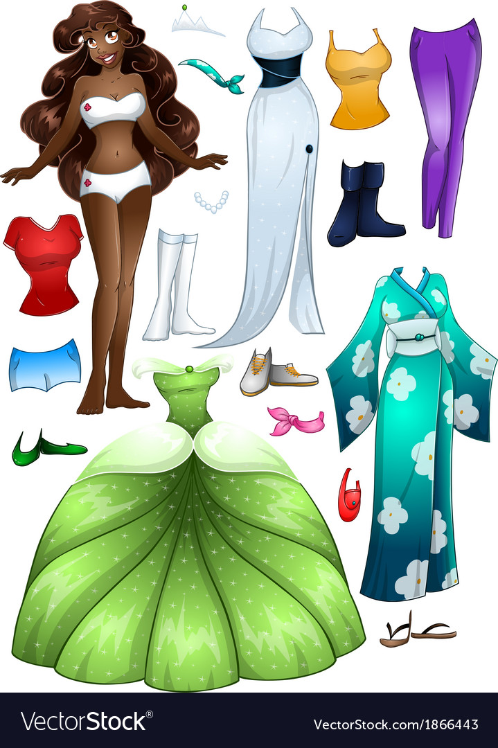 African american girl princess dress up vector | Price: 1 Credit (USD $1)